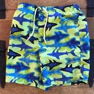 J. Khaki Kids Boys Green & Blue Shark Swim Trunks